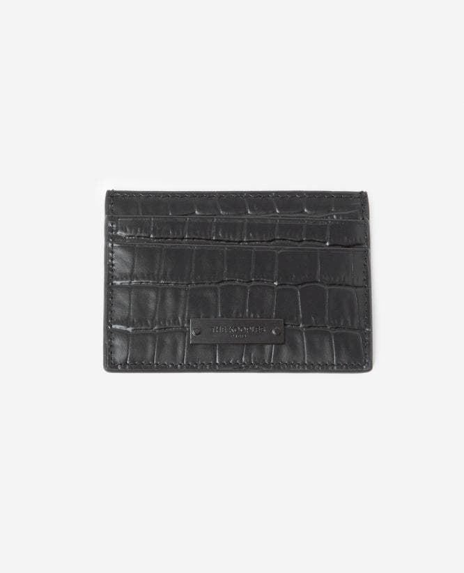 Black crocodile-print leather card holder