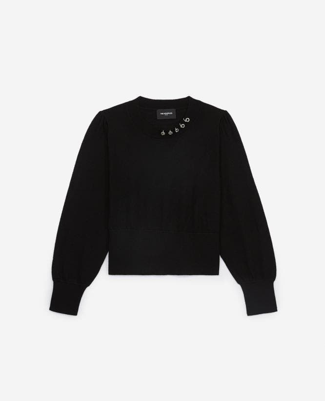 Black rock-style wool sweater w/neck piercing