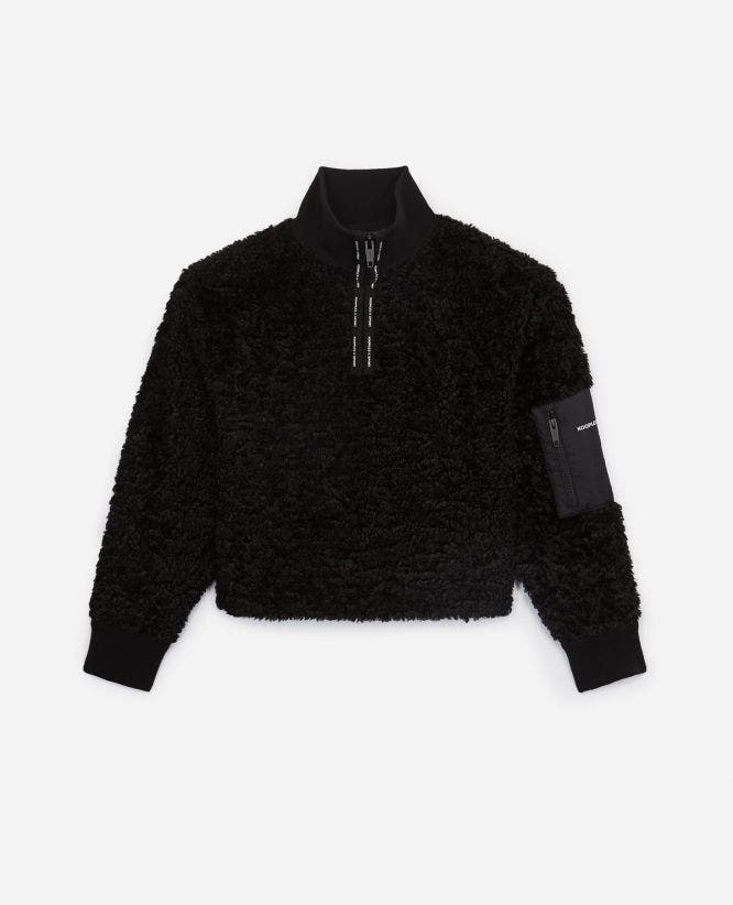 Black wool sweatshirt with zipped funnel neck