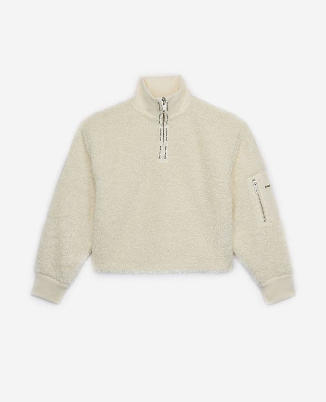 White wool sweatshirt w/funnel neck & pocket