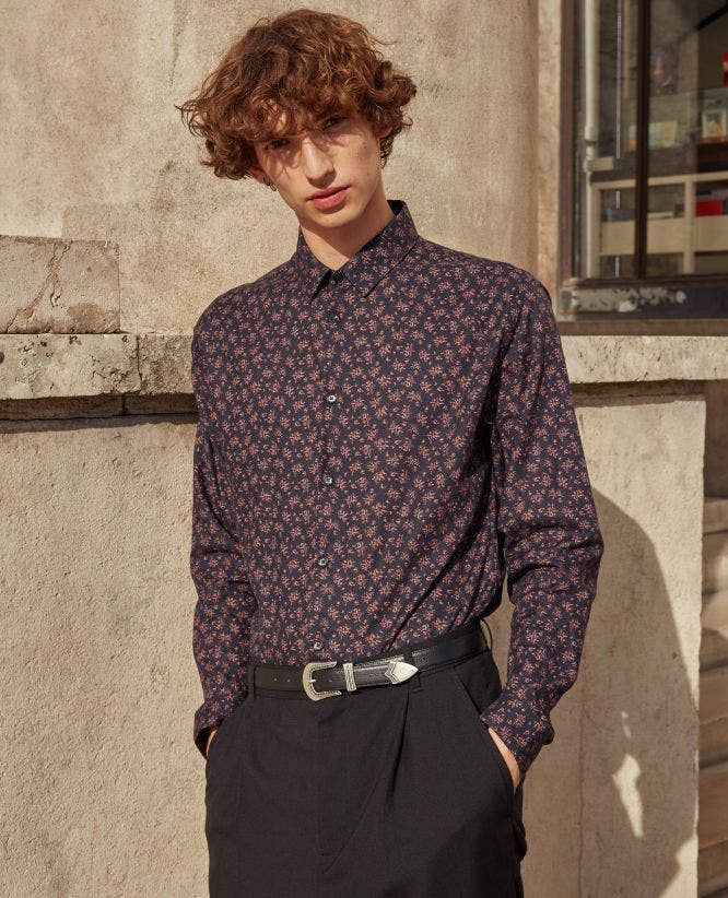 Floral black cotton shirt with classic collar