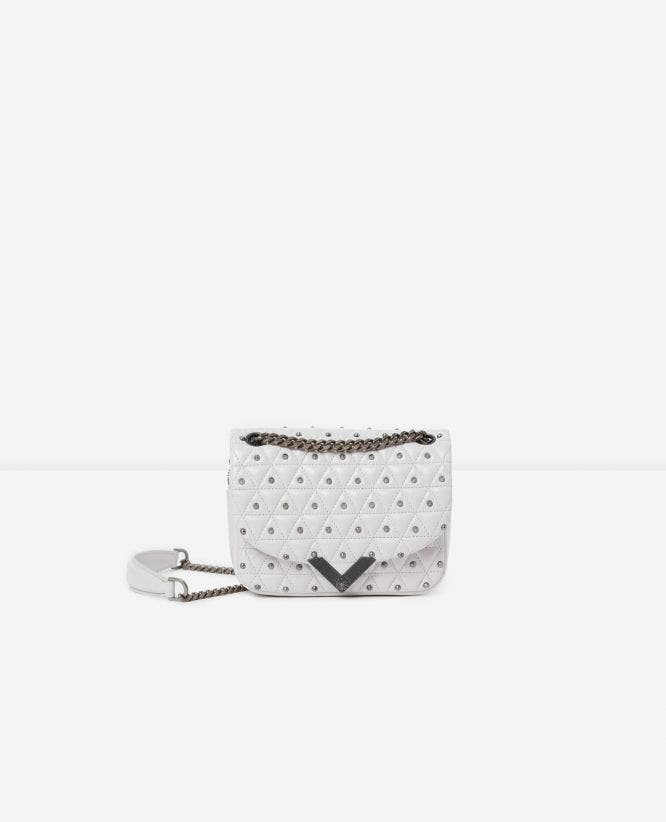 Mini white leather Stella bag by The Kooples