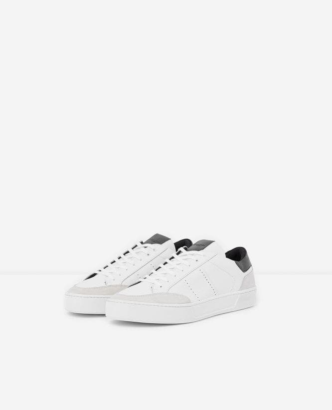 Black leather low-top trainers