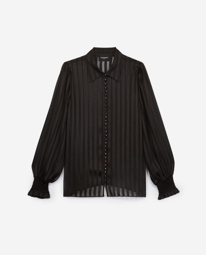 Black long oversized shirt with stripes