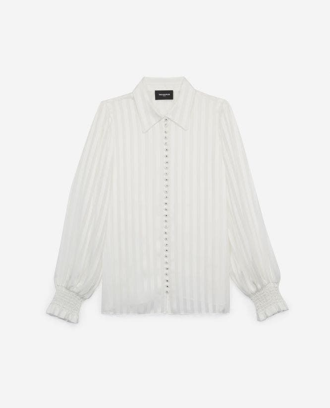 Floaty long white shirt with stripes