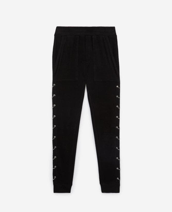 Black fleece joggers with piercings