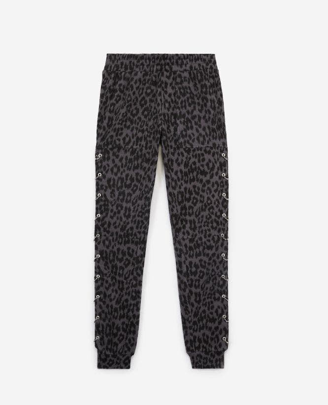 Printed fleece joggers with piercings