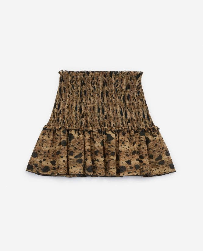 Printed mini skirt with smocking and frills