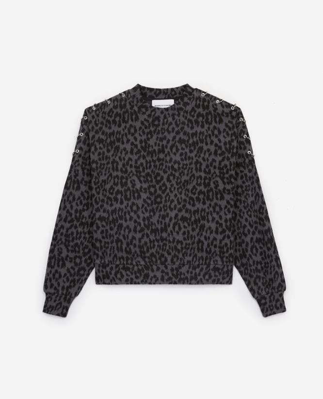 Leopard printed fleece sweatshirt