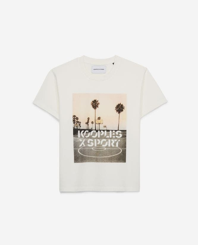 White designer T-shirt with palm-tree motif