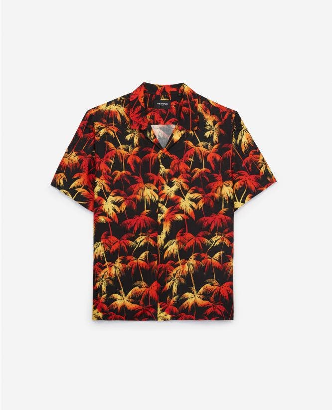 Hawaiian-collar cotton shirt for men w/print