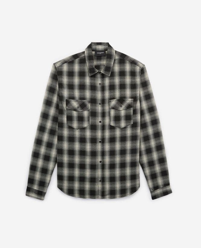 Black and white stretchy check shirt