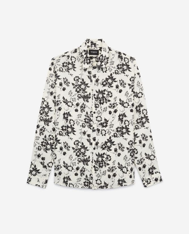 White classic-collar shirt with print