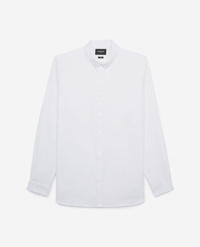 Slim-fit white cotton shirt with round collar