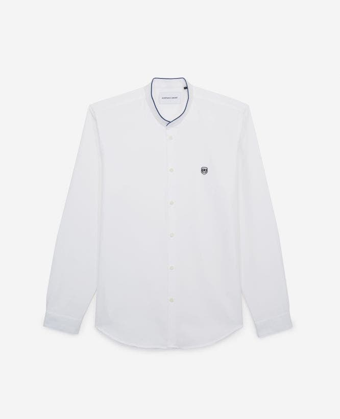 White shirt with officer collar, contrasting