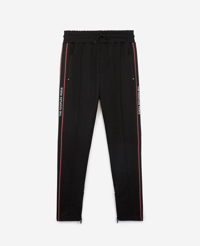 Skinny black fleece joggers with logo strip