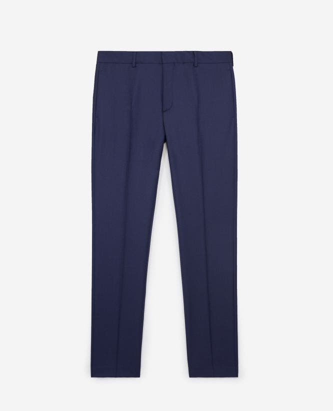 Slim-fitting navy blue wool trousers