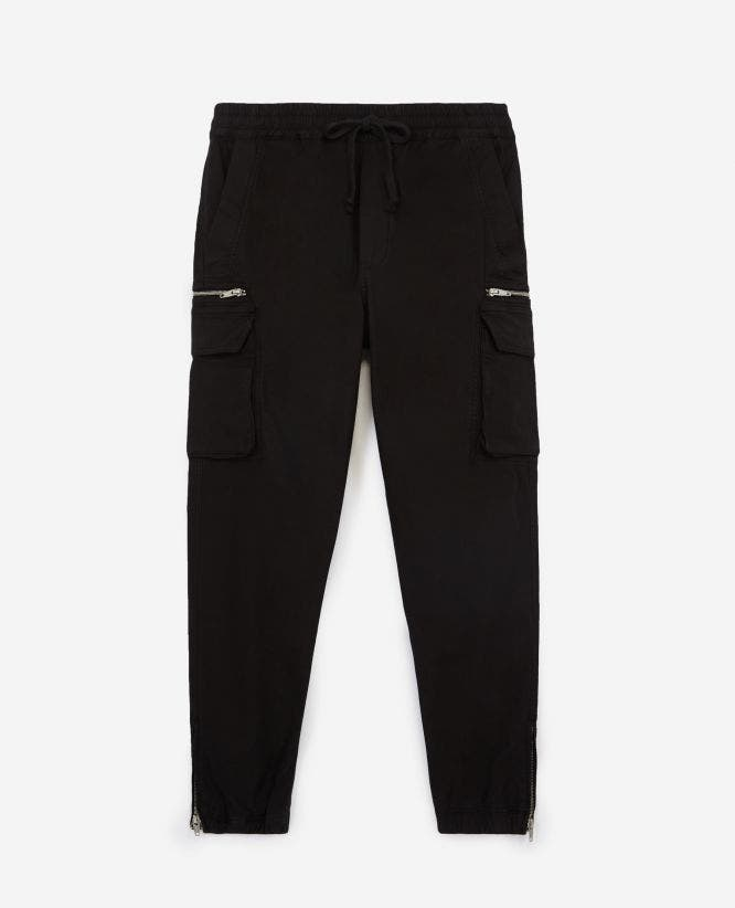 Cargo black cotton trousers w/zipped hem