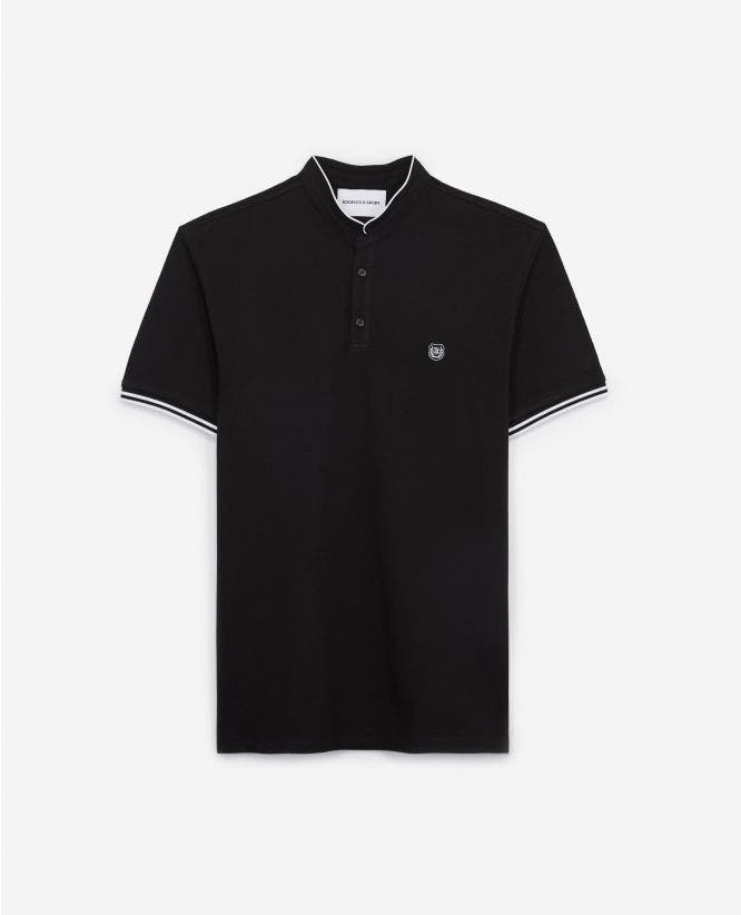 Slim black cotton polo shirt w/officer collar