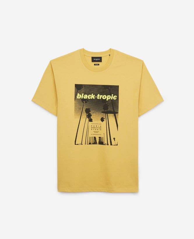 Yellow cotton T-shirt with tropical print