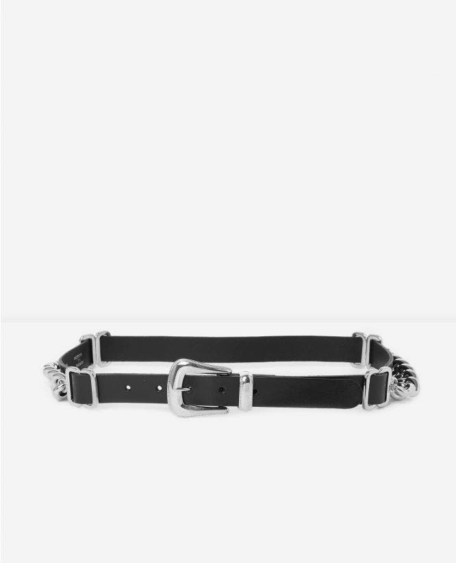 Black women's leather belt with chain