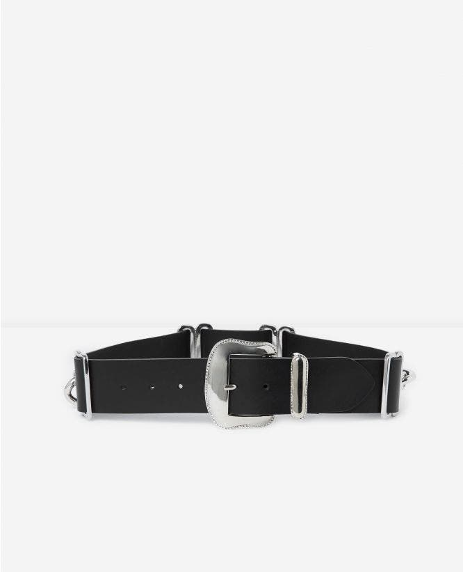 Black women's large belt with large chain