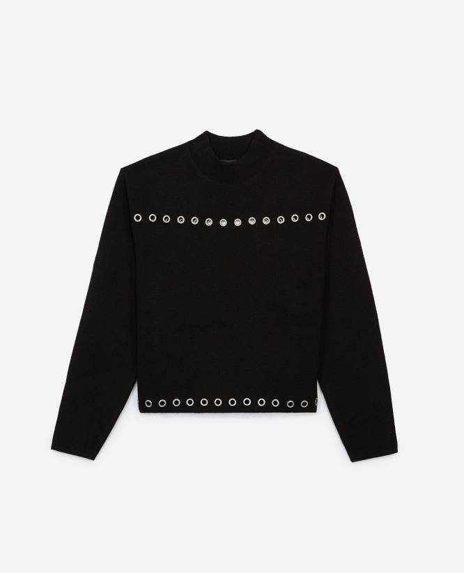 Black formal wool sweater with eyelets