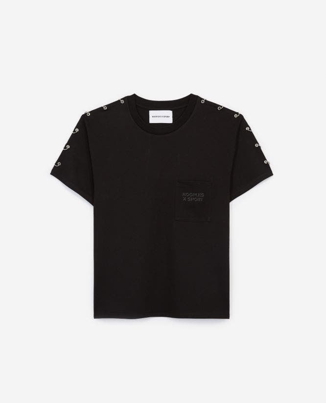 Loose black T-shirt with shoulder piercings