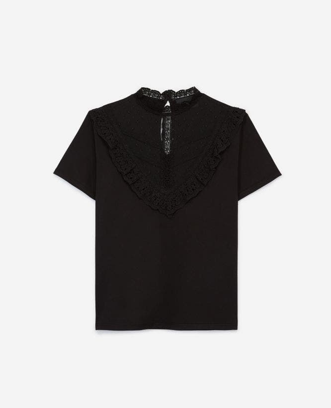 Black jersey rock-style T-shirt with lace