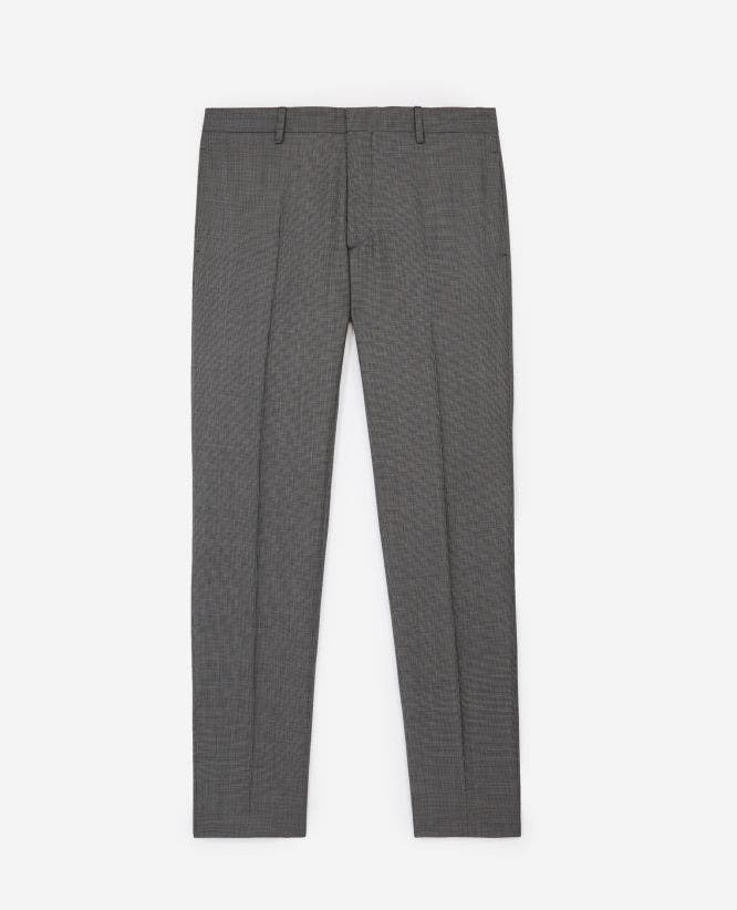Grey wool printed suit trousers