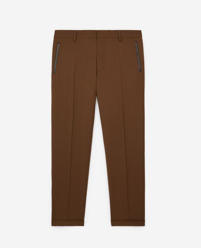 Slim-fit camel beige suit trousers in wool