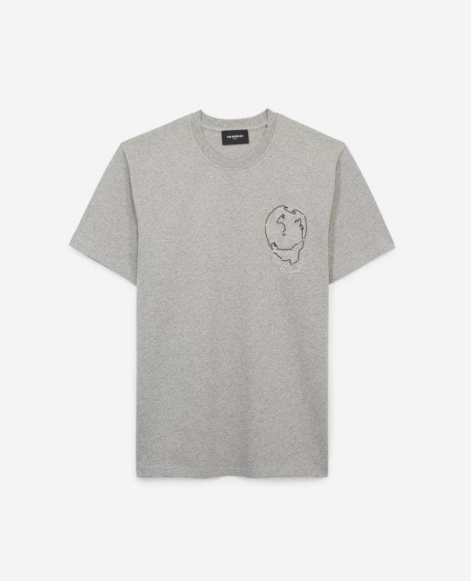 Gray jersey T-shirt w/contrasting embroidery