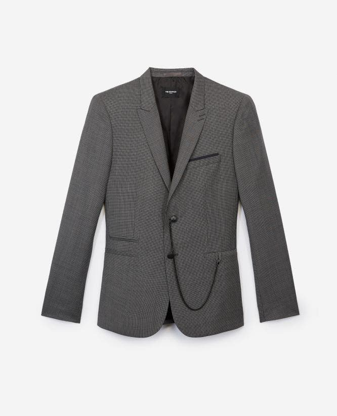 Patterned slim-fit formal gray jacket