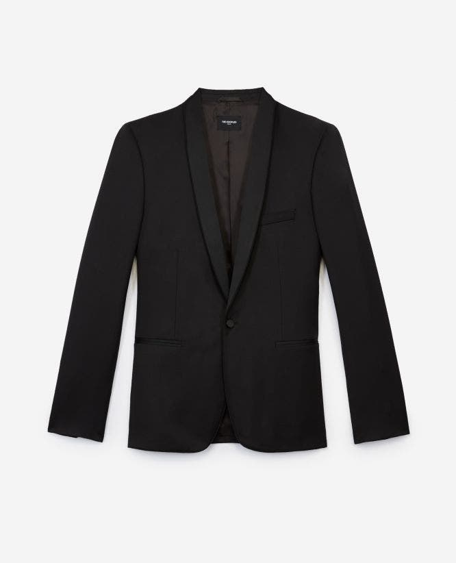 Black formal wool jacket with satin lapels