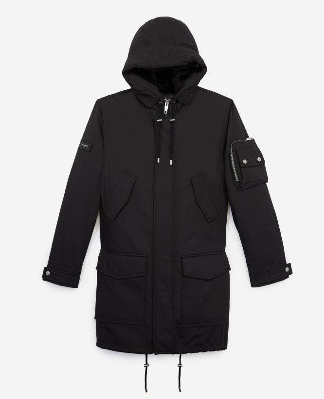 Long black parka with fleece hood