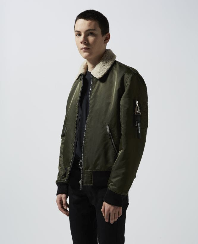Khaki satin bomber, removable sheepskin neck