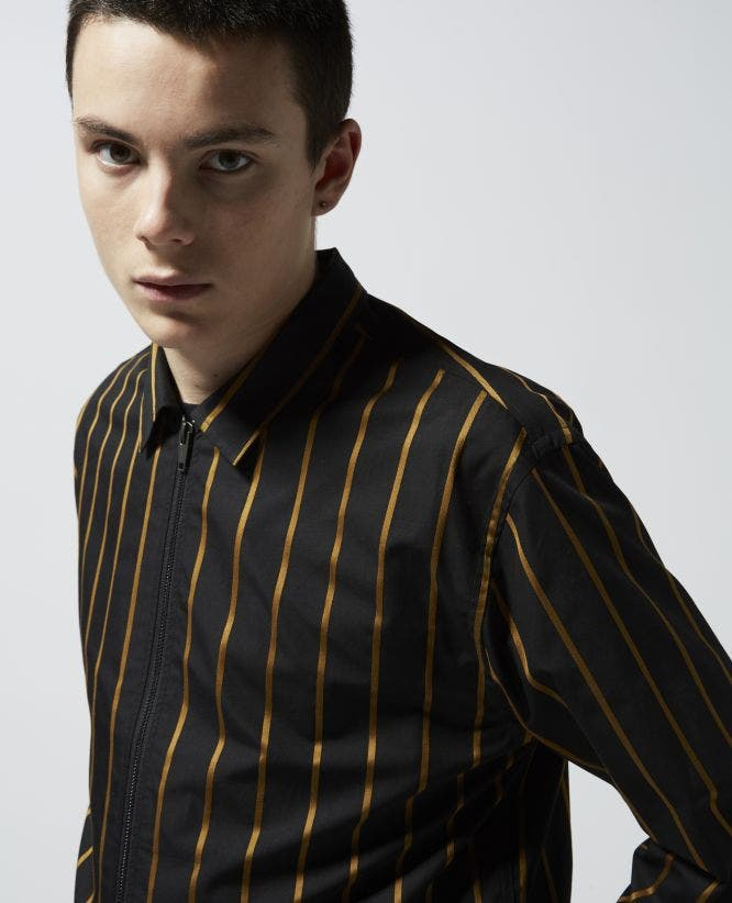 Striped black shirt with patch pockets