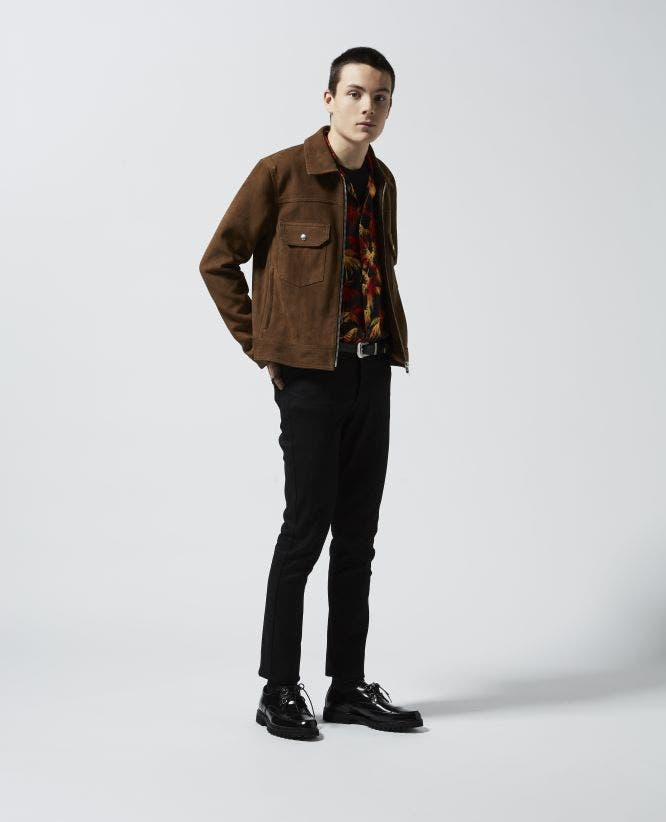 Brown suede-effect winter leather jacket