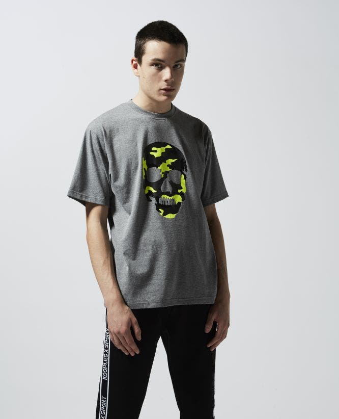 Grey cotton T-shirt with camouflage print