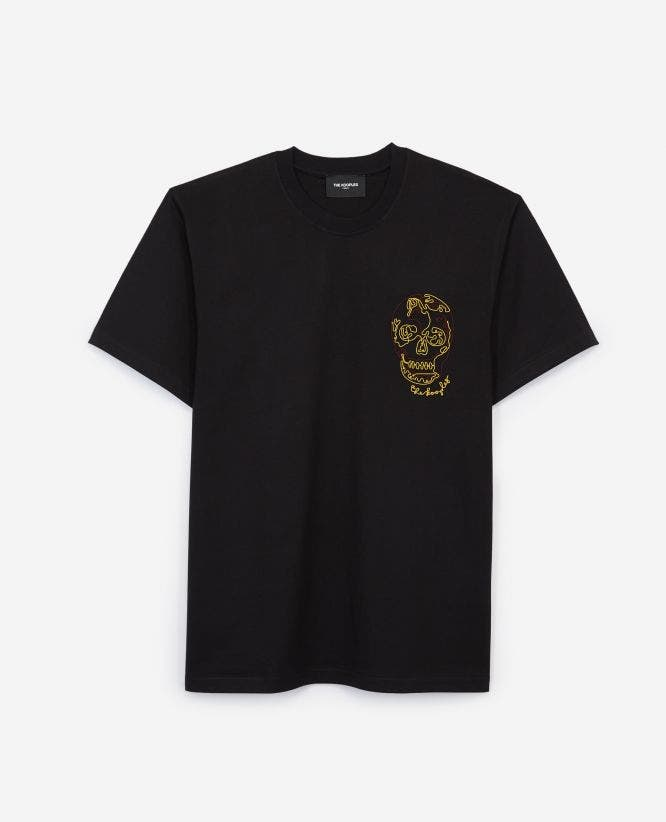 Black cotton T-shirt with chest embroidery