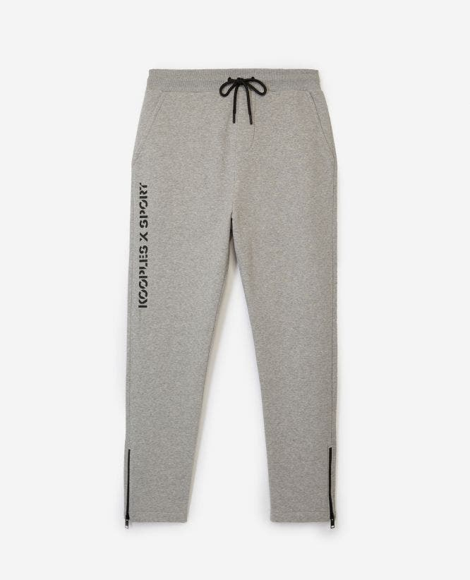 Slim grey fleece joggers with zipped bottoms