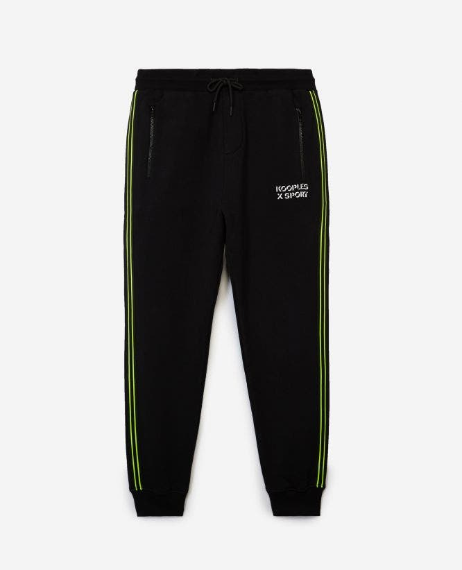 Slim black cotton joggers w/fluorescent strip