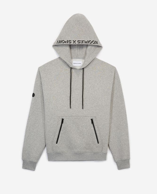 Grey hoodie with pouch pocket