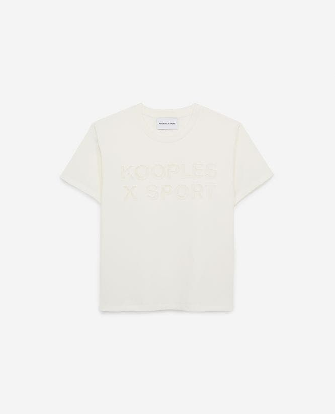 White T-shirt for women with lace detail
