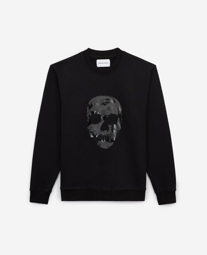 Printed black fleece sweatshirt w/crew neck