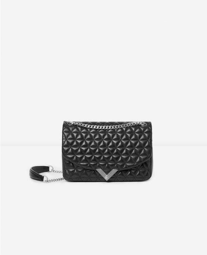 Medium black leather bag Stella by The Kooples