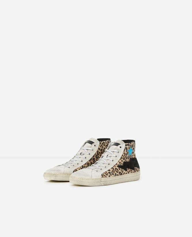 Printed high-top leather trainers with stars