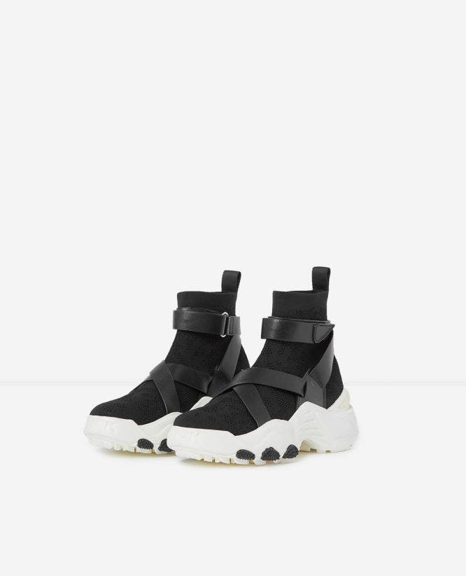 Slick chunky black high-top trainers