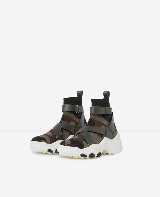 Slick camouflage-motif high-top trainers