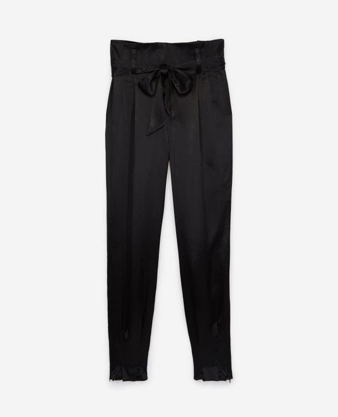Flowing trousers with knotted waist